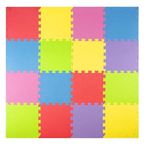 Espuma Jugar Esteras (16azulejos + fronteras) Kids Puzzle alfombra azulejos | no tóxico de enclavamiento suelo niños & para la habitación del bebé suave color de Eva de grosor suelo cuadrado de goma Babies para bebé zona de ejercicios
