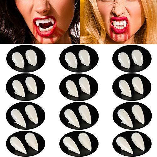 Blulu 12 Pares Dientes de Vampiro de Halloween Colmillos de Vampiro Dentaduras Falsas de Disfraz para Suministros de Fiesta de Disfraces de Halloween (13 mm, 15 mm, 17 mm, 19 mm)