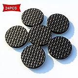 Patins de protection antidérapants en caoutchouc pour meubles, tampons épais sans colle ni clous, diamètre de 2,8cm, lot de 24pièces