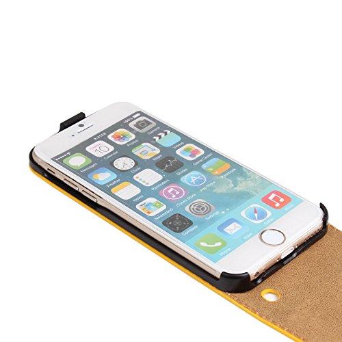 Meimeiwu Genuine Leather Wallet Cover Hülle Schutzhülle Etui Tasche Up-Down Flip Open Case für iPhone 5C - Orange Gelb