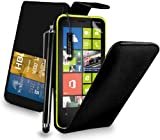 Nokia Lumia 625 - Premium Leather Wallet Flip Case Cover Pouch + Long Touch Stylus Pen + Mini Touch Stylus Pen + Screen Protector & Polishing Cloth (Flip Black)