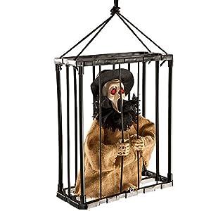 Carnival Toys - Fantasma aullante en jaula para colgar, sonoro, movible y con ojos luminosos, 30 cm, multicolor (8989)