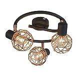QAZQA Design/Modern Spot/Spotlight / Deckenspot/Deckenstrahler / Strahler/Lampe / Leuchte Mesh 3-flammig Spotbalken kupfer/Innenbeleuchtung / Wohnzimmerlampe/Schlafzimmer / Küche Metall Run