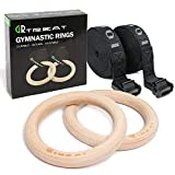 Turnringe Holz Gym Rings, Fitness Gymnastikringe mit Olympic Gym Ringe mit Verstellbaren Langen Buckles Straps, Workout für Home Gym Cross Fitness...