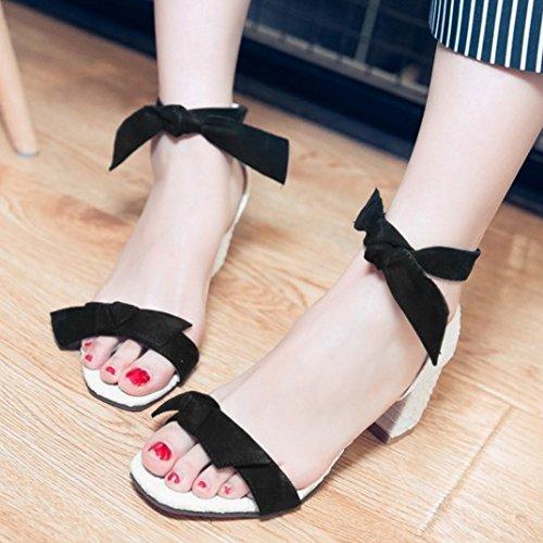 TAOFFEN Damen Mode Bogen Blockabsatz Sommer Sandalen mit Fesselriemen Schwarz