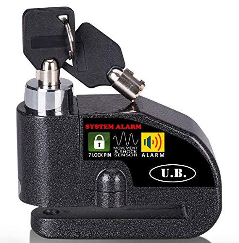 UB Candado de Disco con Alarma 7mm 110DB Dispositivos Antirrobo para Motos...