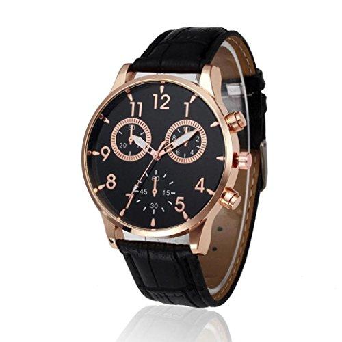 Orologio da polso uomo - uomo nero orologio da polso al quarzo analogico in pelle da uomo orologi da polso di lusso casual da uomo di design semplice morwind (nero)