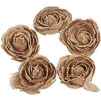 LUOEM 5pcs Tela Fiori della tela Iuta Rose Fiore Artigianato Matrimonio Rustico Decorazione Partito Marrone