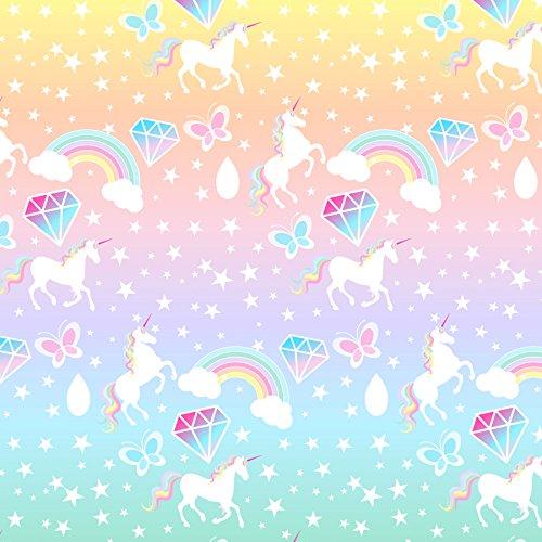 Rainbow Creations Leinenstoff, glänzend, in Pastellfarben, mit Einhorn-Motiv, 1 Bogen für...