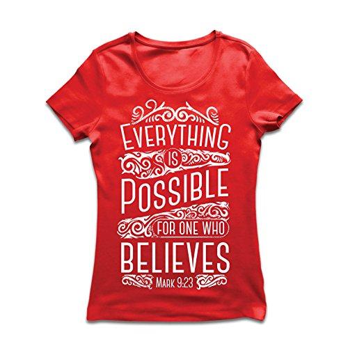 Frauen T-Shirt Jesus Christus: Alles ist möglich für den, der glaubt - christliche Religion, Glaube, Bibel - Ostern - Auferstehung (Large Rot Mehrfarben)