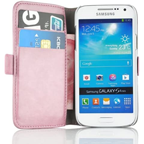 JAMMYLIZARD Funda De Piel Para Samsung Galaxy S4 MINI Luxury Wallet Tipo Cartera, ROSA MELOCOTÓN