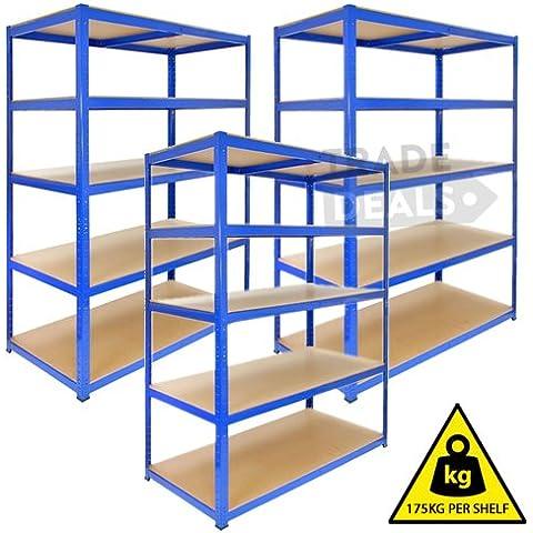 3estanterías, resistentes, sin tornillos, aptas para almacén / garaje / caseta / tienda / casa / comercio, 175kg por estante, color azul, 120cm (W) x 45cm (D) x 180cm