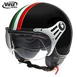 Vinz Rollerhelm Jethelm Fashionhelm | Roller Jet Helm mit Streifen | in Gr. XS-XL | Motorradhelm mit Visier | ECE zertifiziert (S, Schwarz Italy)
