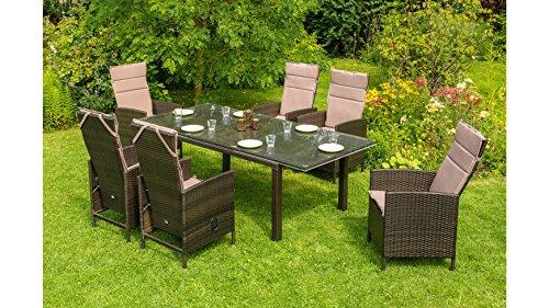 baumarkt direkt Gartenmöbelset Madrid Premium, 6 Sessel, Tisch 150-210 cm, Polyrattan, braun braun