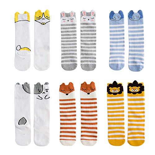 VWU Unisex Baby Mädchen Jungen Kniestrümpfe Socken 6er Pack 0-1/1-3/3-5 Jahre (0-1 Jahre, Tier 4) (Set Sock Ballerina)