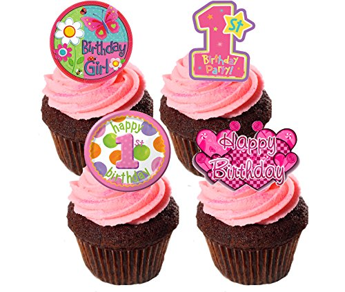 1. Geburtstag Mädchen, essbaren Kuchen Dekorationen,/pink/Stand-up Wafer Cupcake Topper, 24er-Pack