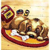 6 Modell Hund Knüpfteppich Formteppich für Kinder und Erwachsene zum Selber Knüpfen Teppich Latch Hook Kit child Rug Dog010 50 by 38 cm