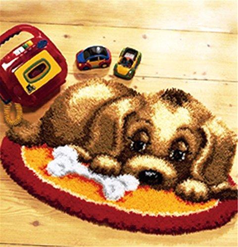 Beyond Your Thoughts Hund Knüpfteppich Formteppich für Kinder und Erwachsene zum Selber Knüpfen Teppich Latch Hook Kit Child Rug Dog 010 50 * 38 cm