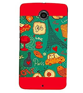 PrintVisa Romantic Love Paris 3D Hard Polycarbonate Designer Back Case Cover for Motorola Motorola Google Nexus 6