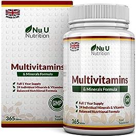 Integratore Multivitaminico e Multiminerale | 365 Compresse (Fornitura Fino A 1 Anno) | 24 Vitamine e Minerali per…