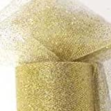 Tüll-Stoff-Glitzer auf Rolle,gold 15cm x 9m