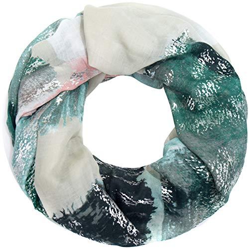 Faera weicher und leichter Damen Sommer-Schal mit Gold- oder Silber-Druck Loopschal Rundschal in verschiedenen Farben, SCHAL Farbe:Grün
