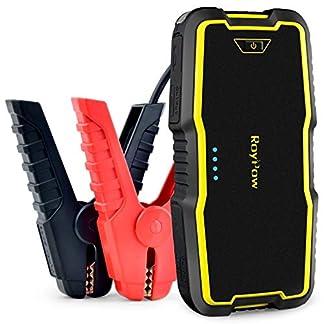 RoyPow arrancador de Coche portátil IP66 (Gasoline 8L, Diesel 5L) batería Booster Power Pack Auto Cargador de batería 12 V Fuente de alimentación con Carga rápida Dual USB Dual LED Linterna