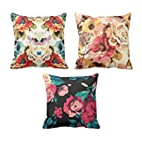 TYYC New Year Gifts for Home Beautiful Floral Pattern Printed Cushion Covers Set of 3 - 24x24 inches