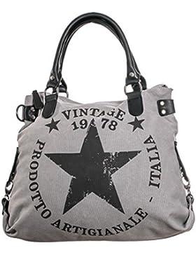 [Gesponsert]Damen Handtasche Tasche mit Stern Canvas Tasche Umhängetasche Schultertasche canvas Henkeltaschen