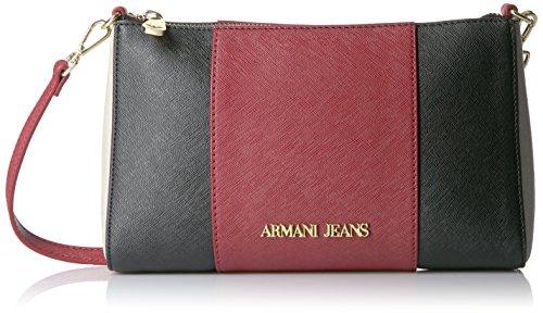 Armani Jeans 922544CC857, Borsa a tracolla Donna, Rosso (BURGUNDY-NERO-GRIGIO 07276), 15x6x24 cm (B x H x T)