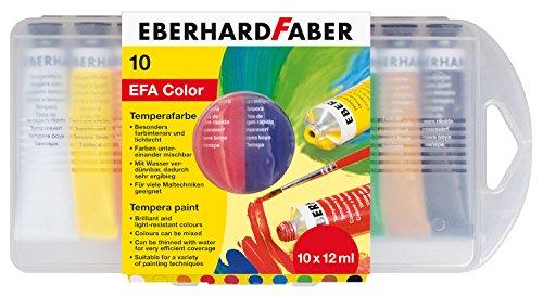 Eberhard Faber 575510 - Schulmalfarben Tempera, 10 Tuben je 12 ml im Etui