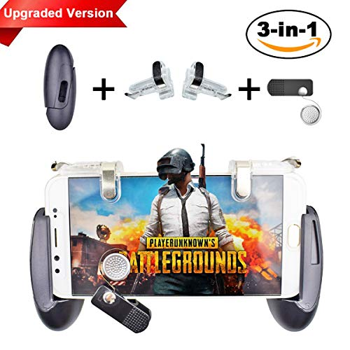 Mobile Game Controller [Upgrade Version] - BESTZY 3 in 1 Mobile Controller - Gamepad, Gaming Trigger and Joysticks para teléfonos Android IOS de 4.5-7 pulgadas, altamente sensible disparar y apuntar para Fortnite/PUBG/Knives Out/Rules of Survival