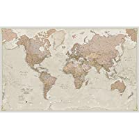 Giant World Map - Antique World Map Poster - Laminated - 197 x 116