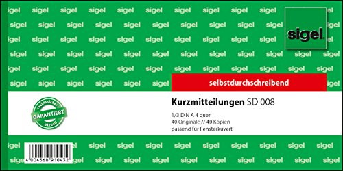 Preisvergleich Produktbild Sigel SD008 Kurzmitteilungsblock  1/3 A4 quer, 2x40 Blatt, selbstdurchschreibend, 1 Stück