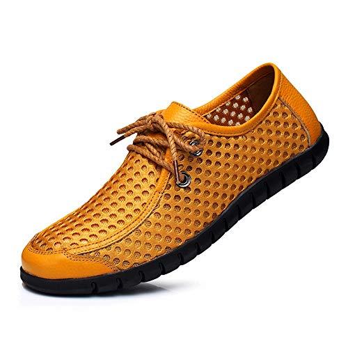 Hilotu mocassini uomo, elegante lace up mesh shoes moda estiva traspirante cuciture scarpe vuote (color : giallo, dimensione : 42 eu)