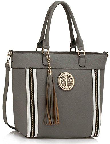 Trendstar Damen Large Tassel Tote Handtasche Designer Taschen Leder Schulter Neue (Medium Tote Tassel)