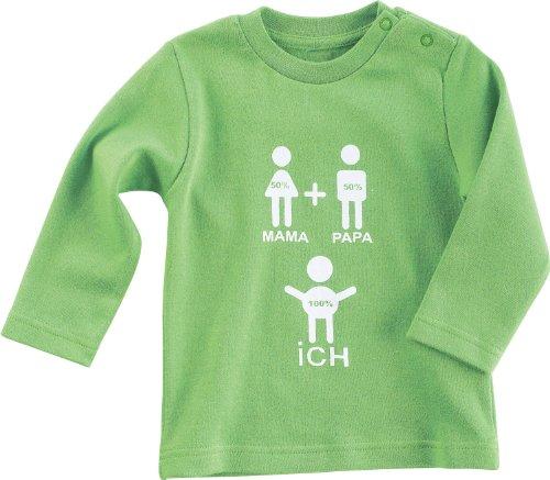Baby Butt Langarmshirt mit Druckmotiv 100% Mama 100% Papa = 100% Ich Interlock-Jersey grün Größe 74 / 80
