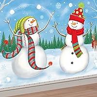 1.65m Christmas Snowman Frozen Winter Wonderland Giant Scene Jolly Reindeer Rabbit Whimsical Setter Wall Decoration Mural Back Drop