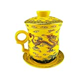 Gold Dragon Painting Chinese Teacup, Yellow Bone China Porcelain Tea Cup, With Filte, Lid And Saucer, For Home, 10.5 Ounce