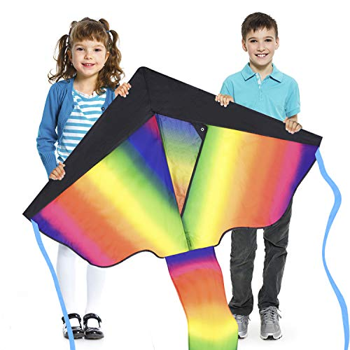 Riesigen Regenbogen drachen für Kinder - sehr einfach zu fliegen - schnell zu montieren und zu speichern - mit zwei Schwänzen und extra lange Schnur