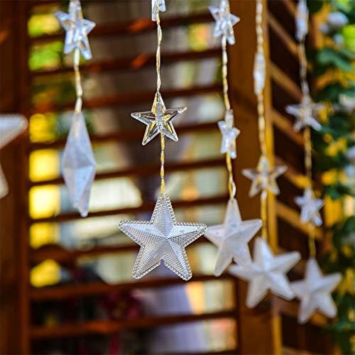Lichterkette mit LED Kugel Sternenvorhang 144 LED Warmweiß Lichtervorhang Innen & Außenlichterkette Wasserdicht Dekoration für Weihnachten Deko Party Festen (Dekorationen Abendessen Italienisches)