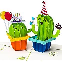 3D Geburtstagskarte Happy Birthday mit Kakteen Pop up, handgefertigt, Grußkarte, Glückwunsch Karte, Grußkarten, Glückwunschkarten, Kaktus mit Luftballon, Geschenkkarte zum Geburtstag
