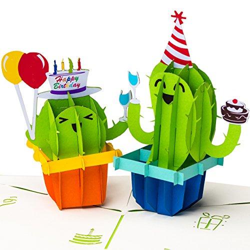 """Geburtstagskarte\""""Happy Birthday mit Kakteen\"""" 3D Pop up, handgefertigt, Grußkarte, Glückwunsch Karte, Grußkarten, Glückwunschkarten, Kaktus mit Luftballon, Geschenkkarte zum Geburtstag"""