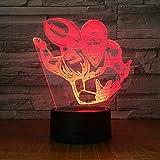 Veilleuse 3D, lampes de nuit, 7 changements de couleurs, LED USB, joueur de ballon de rugby de football stéréo acrylique Bureau Bar chambre humeur Illusion cadeau d'anniversaire