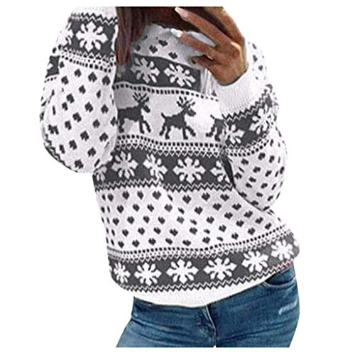 Artistic9 Damen lustige hässliche Weihnachtsstrickjacke Elch Schneeflocken Print Vintage Strickpullover Farbblock Tunika Tops Casual Holiday Party Warm Tee -