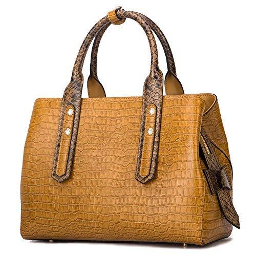 Qiwang Handtaschen aus echtem Leder für Damen, luxuriöse Designer-Handtasche mit Tragegriff, geprägtes Krokodil-Kinderleder, Braun (braun), Large - Krokodil Geprägtes Leder Handtasche