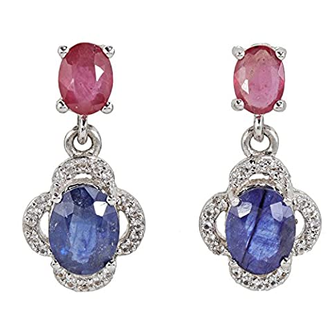 Women's Harry IVENS Sapphire White Topaz Stud Earrings Sterling Silver Rhodium Finish Ruby Pendant