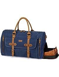 b62678b83 Bolsa de Viaje, Vaschy Bolsa de Equipaje de Fin de Semana de Lona de Cuero  con Compartimento para Zapatos 46 Litros Equipaje de Mano…