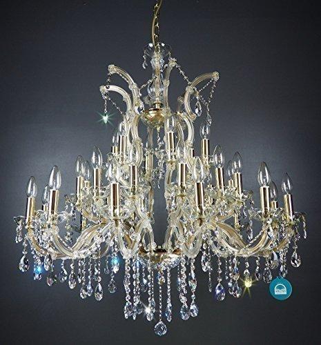 Lampadario in cristallo 30 lampade o90cm con nobile maniche di candela & cristallo di spettri di cristallo swarovski gold