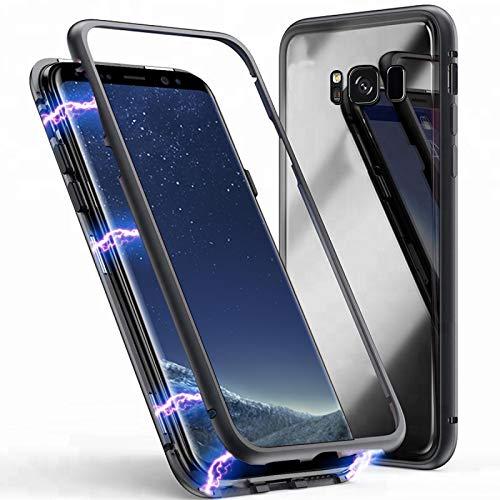 Mediatech Galaxy S7 Edge Magnetische Adsorption Handyhülle Case mit Eingebauter Magnet Funktion, Ultra Dünn 360 Grad Cover Metallrahmen Hartglas für Samsung Galaxy S7 Edge (Transparent Schwarz 5.5)